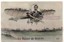 Un Baiser De BEZIERS - 2 CPA - Fantaisies Avion (205 ASO) - Beziers