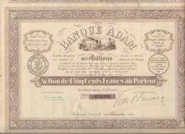 BANQUE ADAM -BOULOGNE SUR MER - ACTION DE CINQ CENT FRANCS -ANNEE 1923 - Banque & Assurance