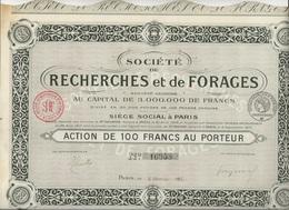 SOCIETE DE RECHERCHES ET DE FORAGES - ACTION DE 100 FRS - ANNEE 1918 - Banque & Assurance