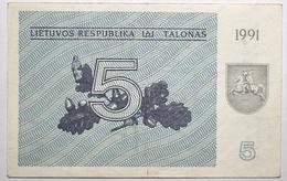Lituanie - 5 Talonas - 1991 - PICK 34a - TTB+ - Lituania