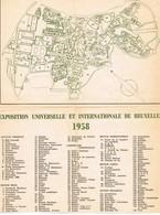 Bruxelles Expo 58   Petit Plan Sur Papier Journal 21x27 Cm Etat Usagé Double Face Bilingue - Vieux Papiers