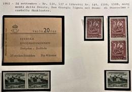SVEZIA 1962 MONUMENTI NAZIONALI SET + 3 LIBRETTI  MNH  SPEC. - Nuovi