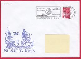 3870 Marine, PH Jeanne D'Arc, Campagne 1999-2000, Cap Horn, Escale à Ushuaia, Argentine,  Oblit. Mécanique JDA, 3-2-2000 - Posta Marittima