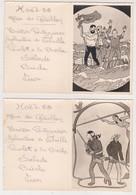 27821 Deux Menus Réveillons 1958 -dessin BD TINTIN David Crockett ? BOULVE -enfant BOULARD -Chalon Marne - Menus