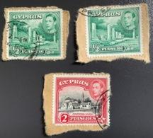 CIPRO - CYPRUS - 1938 - 3 Valori Usati Re Giorgio VI  1/2 E 2 Piastre - Zypern