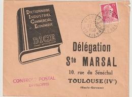 FRANCE -SOCIETE MARSAL AVEC GRIFFE CONTROLE POSTAL ENVELOPPES - 1921-1960: Période Moderne