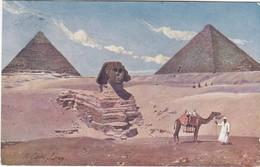 0815 UNE VUE DU SPHINX ENTRE LES PYRAMIDES - CARAVANE D'ÉGYPTIENS DEVANT LES PYRAMIDES - Sphinx
