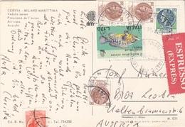 "ITALIEN - Express Versendete Ak ""CERVIA"" Mi 6 Fach Frankierung - 6. 1946-.. Republic"