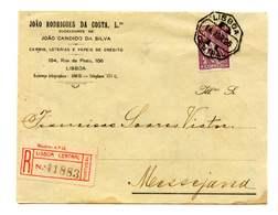 Portugal Registered And Sealed Cover Lisboa To MESSEJANA 14/4/1926  (2 Scans) - Cartas