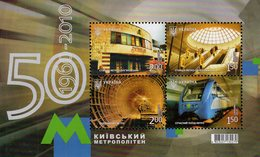 Ukraine - 2010 - 50 Years Of Underground (Metro) In Kiev - Mint Souvenir Sheet - Ucraina
