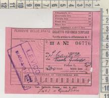 BIGLIETTO TICKET BUILLET FEROVIE DELLO STATO LEVICO - S. CANDIDO - TRENTO  1939 - Chemins De Fer