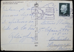 1978 Monaco Monte Carlo Circulated CPA Postmark Flamme - Journeé De L'UPU - UPU Day - Día De La Upu - Machine Stamps (ATM)