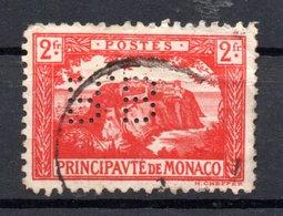 MONACO -- Timbre Perforé Perfin Luchung--  2 Francs Vermillon Rocher De Monaco --  B B   - 15 15  Indice 4 - Variétés