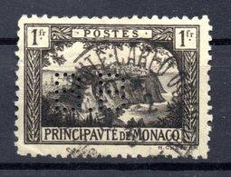 MONACO -- Timbre Perforé Perfin Luchung--  1 Francs Noir Sur Jaune Rocher De Monaco --  B B   - 15 15  Indice 4 - Variétés