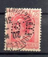 MONACO -- Timbre Perforé Perfin Luchung--  75 C. Rouge Sur Paille Prince Louis II --  B B   - 15 15  Indice 4 - Variétés