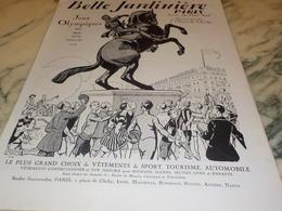 ANCIENNE PUBLICITE JEUX OLYMPIQUES MAGASIN BELLE JARDINIERE  1924 - Habits & Linge D'époque