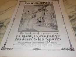 ANCIENNE PUBLICITE PLAGE ET CAMPAGNE MAGASIN BELLE JARDINIERE  1924 - Habits & Linge D'époque
