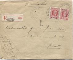 REF998/ TP 202(2) Albert Houyoux S/L.Recommandée C.Oostende 15/4/1926 > Hasselt Verso Vignette-cinderella Expo Inter.TP - Belgique