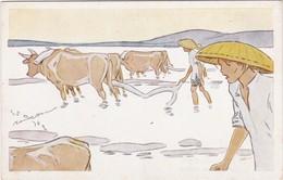 0835 LE RIZ D'INDO-CHINE - ILLUSTRATION SIGNÉE DE GEORGES BOURDIN - LABOURAGE DES RIZIÈRES - Illustratori & Fotografie
