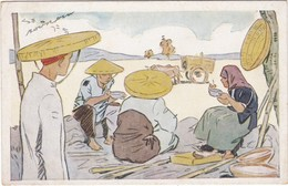 0836 LE RIZ D'INDO-CHINE - ILLUSTRATION SIGNÉE DE GEORGES BOURDIN - REPAS DES MOISSONNEURS - Illustratori & Fotografie
