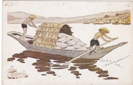 0837 LE RIZ D'INDO-CHINE - ILLUSTRATION SIGNÉE DE GEORGES BOURDIN - SAMPAN CHARGÉ DE RIZ - Illustratori & Fotografie