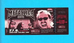 METALLICA ... Croatian Concert 2004 Velika Gorica/Zagreb Original Ticket * TICKET IS COMPLETE * Billet Biglietto Boleto - Biglietti Per Concerti