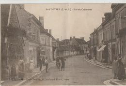 Saint-Flovier  37   La Rue Du Commerce Tres Animée Et Epicerie Et Café - France