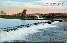 West Virginia Charleston Lock Six Kanawha River Curteich - Charleston