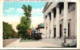 West Virginia Charleston Glimpse Of Virginia Street East Showing First Presbyterian Church 1930 - Charleston