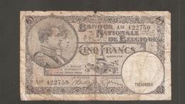 BELGIO 5 FRANCS 1938 - 5 Franchi