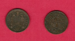 SPAIN  1 PESETA 1944 (KM # 767) #6155 - [ 4] 1939-1947 : Gobierno Nacionalista
