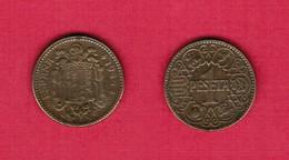 SPAIN  1 PESETA 1944 (KM # 767) #6156 - [ 4] 1939-1947 : Gobierno Nacionalista
