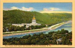 West Virginia Charleston State Capitol And Kanawha Boulevard Curteich - Charleston