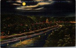 West Virginia Charleston Moonlight Over The Kanawha River Showing State Capitol - Charleston