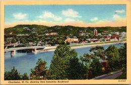 West Virginia Charleston Showing New Kanawha Boulevard Curteich - Charleston