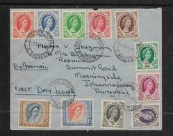 Rhodesia & Nyasaland, EIIR, 1/2d - 2/=, First Day, RIDGEWAY LUSAKA N.RHODESIA 1 Vii 54 ,c.d.s. > S.Africa - Rhodesië & Nyasaland (1954-1963)