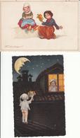 CPA Fantaisie - Enfants - Lot De 2 Cartes Artistiques Signées - Cartes Humoristiques