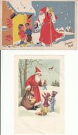 CPA Fantaisie - Enfants Et Le Père Noël - Lot De 2 Cartes Artistiques - Noël