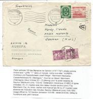 GANDON 10FR VIOLET PAIRE UTILISATION TAXE POSTE RESTANTE SAUMUR 1952 LETTRE ALLEMAGNE 10C+20C MANNHEIM - 1945-54 Marianne De Gandon