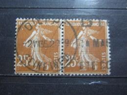 """VEND BEAUX TIMBRES DE FRANCE N° 235 EN PAIRE , OBLITERATION """" DIEPPE """" !!! - 1906-38 Semeuse Camée"""