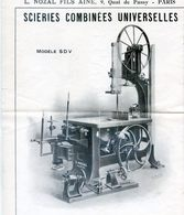 Publicite Pour Scierie Combinées Universelles  - Nozal Fils Ainé Paris - Modele SDV - Publicités