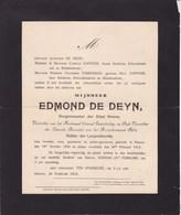 NINOVE ALOST Edmond DE DEYN Burgemeester Ninove 1824-1912 Famille COPPENS TIMBERMAN Arrondissement AALST - Décès