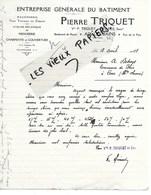 73 - Savoie - AIX-LES-BAINS - Facture TRIQUET - Maçonnerie, Menuiserie, Charpente, Couverture - 1928 - REF 140C - 1900 – 1949