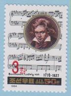 J.P.S. - Timbre - Musique - Compositeur - N° 79 - Corée Du Nord - Beethoven - N° Yvert 2549 A Surchargé - Musique