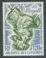 Comores P.A. N° 61  XX Carte De L'ile Mayotte Sans Charnière, TB - Comoro Islands (1950-1975)