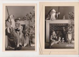 Deux Photo Père Noel Enfant Jouet NOEL 1954 -mikey Sapin Chien Peluche Telephone -BOULVE - Personnes Anonymes