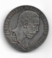 2 Marks D'argent De Karl Gunther Prince De Schwarzburg-Sondershausen 1905 - 2, 3 & 5 Mark Argento
