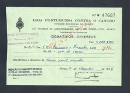 PORTUGAL DONATION LIGA PORTUGUESA CONTRA O CANCRO ( CANCER ) PORTO 1995 : - Portugal
