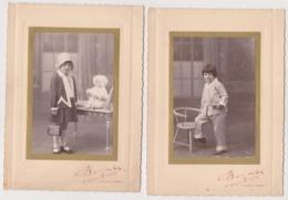 Deux Photo - Artistique Enfant Années 30-40 Chapeau Mode Poupée -BOULVE - Personnes Anonymes