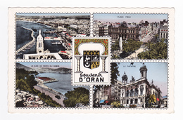 Algérie ORAN En 4 Vues Et Blason En 1961 Place Foch Théâtre Baie De Mers El Kebir Bateau Cargo VOIR DOS - Oran